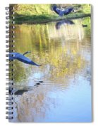 Blue Herons On Golden Pond Spiral Notebook