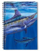 Blue Marlin Bite Off001 Spiral Notebook