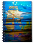 Blue Moonlight With Seagull And Sails Spiral Notebook