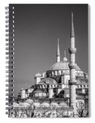 Blue Mosque Black And White Spiral Notebook