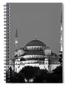 Blue Mosque In Black And White Spiral Notebook