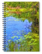 Blue Pond And Water Lilies Spiral Notebook