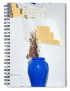 Blue Pot In Oia Town Spiral Notebook