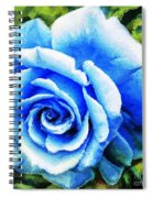 Blue Rose With Brushstrokes Spiral Notebook