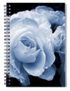 Blue Roses With Raindrops Spiral Notebook