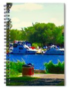 Blue Skies Boats And Bikes Montreal Summer Scene The Lachine Canal Seascape Art Carole Spandau Spiral Notebook