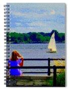 Blue Skies White Sails Drifting Blonde Girl And Collie Watch River Run Lachine Scenes Carole Spandau Spiral Notebook