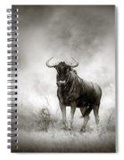Blue Wildebeest In Rainstorm Spiral Notebook