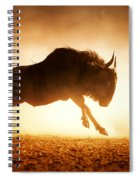 Blue Wildebeest Running In Dust Spiral Notebook