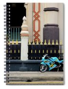 Blue Yellow Sporty Motorcycle Parked On Pavement Spiral Notebook
