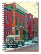 Blues And Brick Houses Winter Street Suburban Scenes The Point Sud Ouest Montreal Art Carole Spandau Spiral Notebook