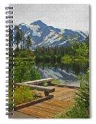 Board Walk- Lake- Fir Trees And Mount Baker Spiral Notebook