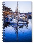 Boat Mast Reflection In Blue Ocean At Dock Morro Bay Marina Fine Art Photography Print Spiral Notebook