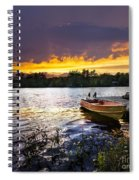 Boat On Lake At Sunset Spiral Notebook