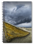 Boat On The Beach With Oncoming Storm Spiral Notebook