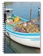 Boat Reflected In Sozopol Harbour Spiral Notebook