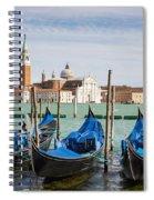 Boats Anchored At Marina Venice, Italy Spiral Notebook