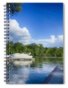 Boats At Dock On A Lake With Blue Sky Spiral Notebook