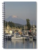 Boats Docked At A Harbor With Mountain Spiral Notebook