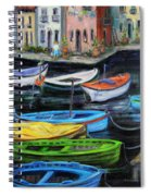 Boats In Front Of The Buildings II Spiral Notebook