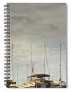 Boats In Harbor Reflection Spiral Notebook