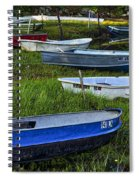 Boats In Marsh - Cape Neddick - Maine Spiral Notebook
