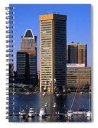 Boats Moored At Inner Harbor Viewed Spiral Notebook