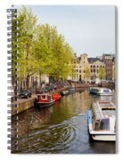 Boats On Canal Tour In Amsterdam Spiral Notebook