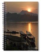 Boats On River By Luang Prabang Laos  Spiral Notebook