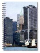 Boats - Schooner Against The Manhattan Skyline Spiral Notebook