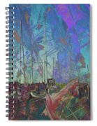 Boats W Painted Abstract Spiral Notebook