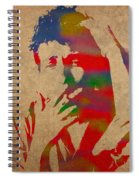 Bob Dylan Watercolor Portrait On Worn Distressed Canvas Spiral Notebook