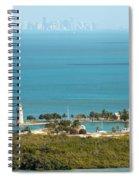 Boca Chita Lighthouse And Miami Skyline Spiral Notebook