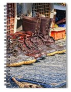 Boots Lined Up After The Hunt Spiral Notebook
