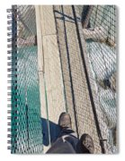 Boots On Swing Bridge Over Troubled White Water Spiral Notebook