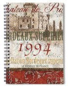 Bordeaux Blanc Label 2 Spiral Notebook