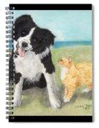 Border Collie Dog Orange Tabby Cat Art Spiral Notebook