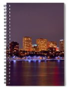 Boston Back Bay Skyline At Night Color Panorama Spiral Notebook