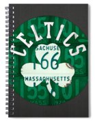 Boston Celtics Basketball Team Retro Logo Vintage Recycled Massachusetts License Plate Art Spiral Notebook