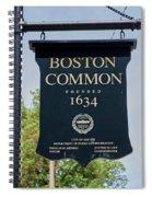 Boston Common Park Sign, Boston, Ma Spiral Notebook