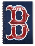 Boston Red Sox Logo Letter B Baseball Team Vintage License Plate Art Spiral Notebook
