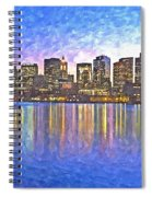 Boston Skyline By Night Spiral Notebook