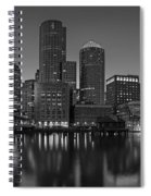 Boston Skyline Seaport District Bw Spiral Notebook