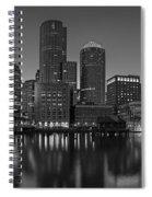 Boston Skyline Seaport District Bw Spiral Notebook