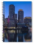Boston Skyline Seaport District Spiral Notebook
