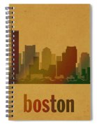 Boston Skyline Watercolor On Parchment Spiral Notebook