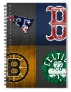 Boston Sports Fan Recycled Vintage Massachusetts License Plate Art Patriots Red Sox Bruins Celtics Spiral Notebook