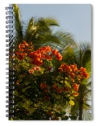 Bougainvilleas And Palm Trees Swaying In The Wind In Waikiki Honolulu Hawaii Spiral Notebook
