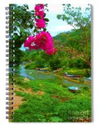 Bouganvilla Watches Over Village Fishing Boats Spiral Notebook