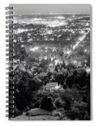 Boulder Colorado City Lights Panorama  Black And White Spiral Notebook